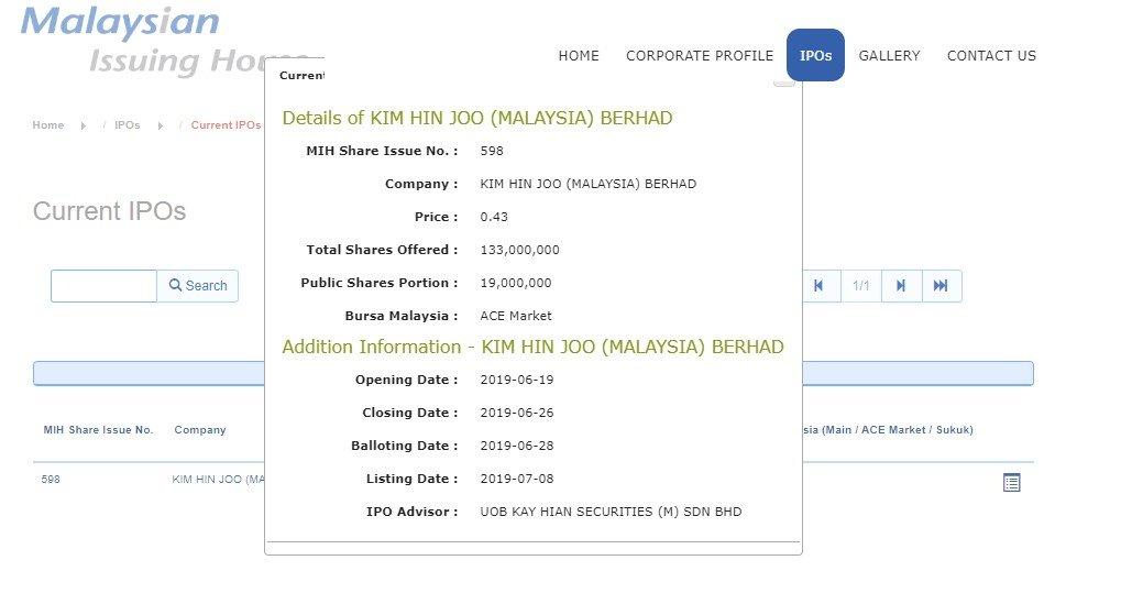 details KIM HIN JOO Berhad.