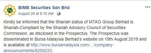 Status syariah MTAG Group Berhad