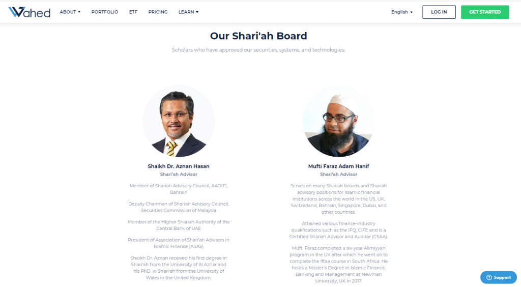 Penasihat Syariah yang diiktiraf: wahed invest