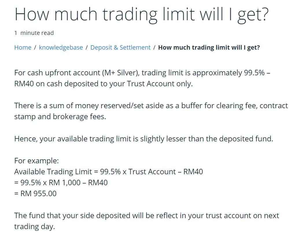 Available Trading Limit